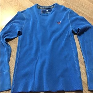 American Eagle Outfitters Tops - AE Womans Thermal Top Blue Red T-shirt American